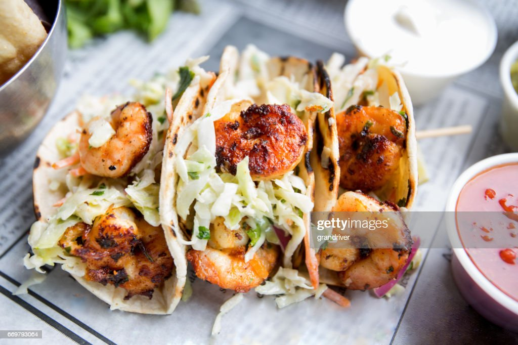 Grilled Shrimp Tacos : Stock Photo