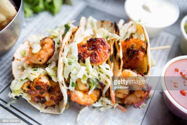 grilled shrimp tacos - seafood stock pictures, royalty-free photos & images