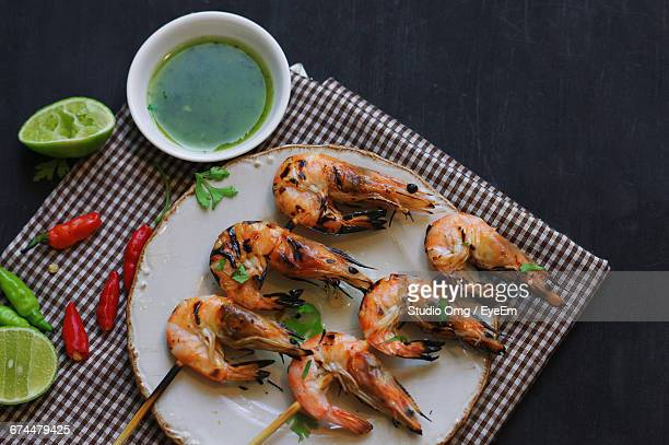 Grilled Shrimps On A Plate