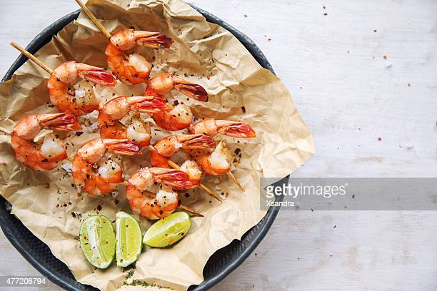 grilled shrimps - seafood stock pictures, royalty-free photos & images