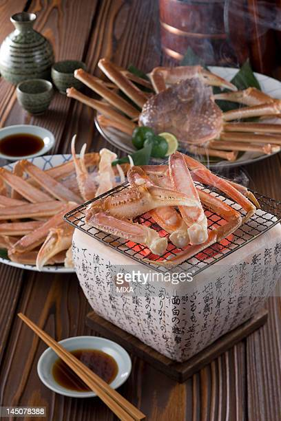 grilled snow crab - chionoecetes opilio stock photos and pictures