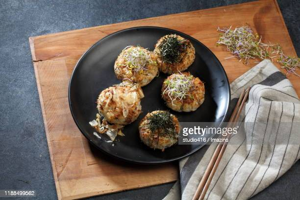 grilled soy bean pasted rice ball - rice ball stock pictures, royalty-free photos & images