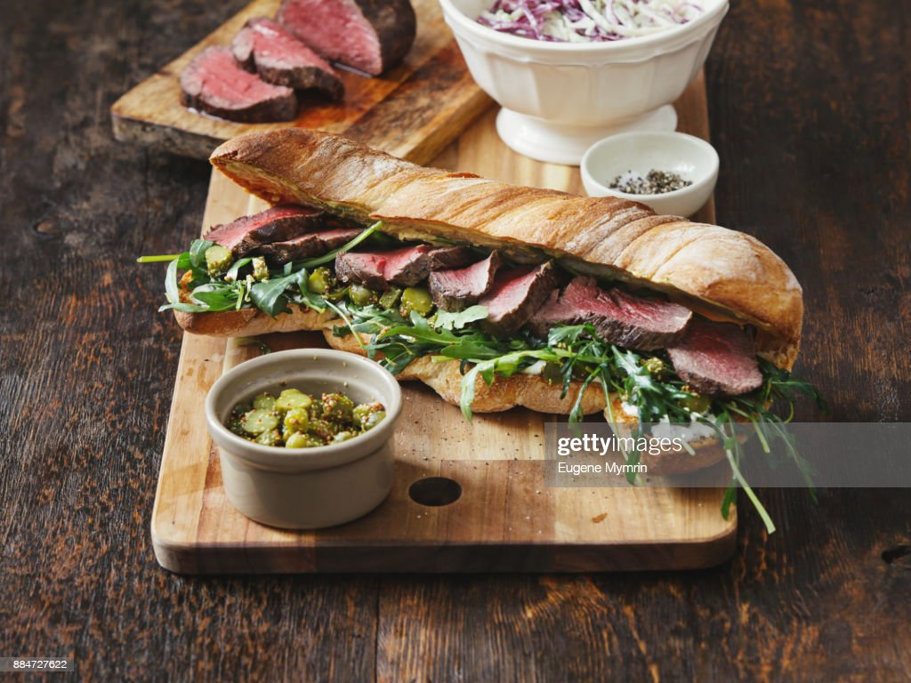 Grilled steak sandwich : Foto de stock