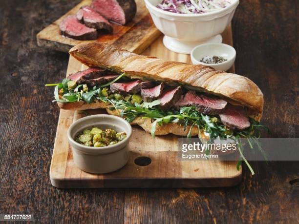 grilled steak sandwich - sandwich stock pictures, royalty-free photos & images