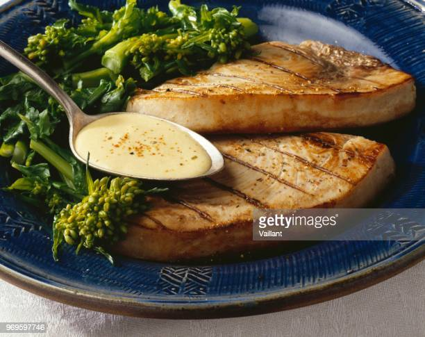 grilled swordfish with aniseed sauce - swordfish stock pictures, royalty-free photos & images
