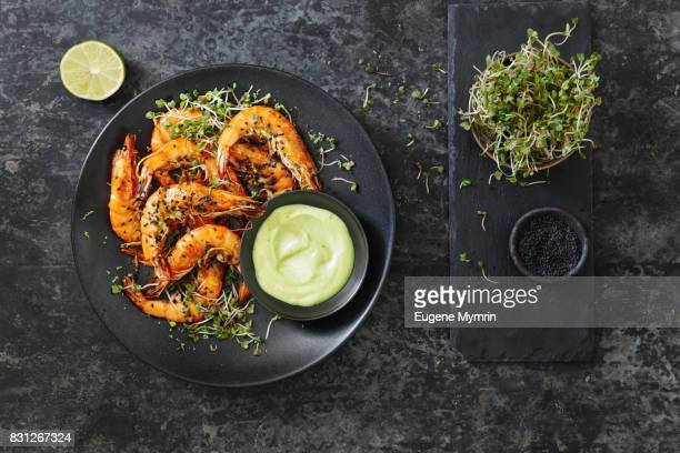 Grilled tiger prawns with wasabi