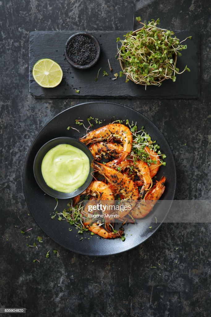 Grilled tiger prawns with wasabi : Stock Photo
