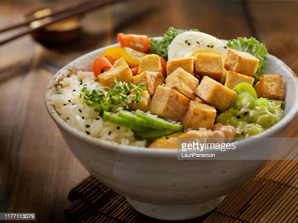 grilled tofu buddha bowl - meat substitute stock pictures, royalty-free photos & images