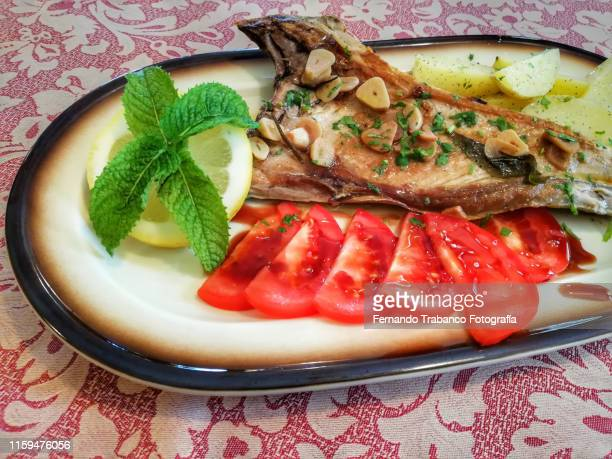 grilled tuna - espina fotografías e imágenes de stock
