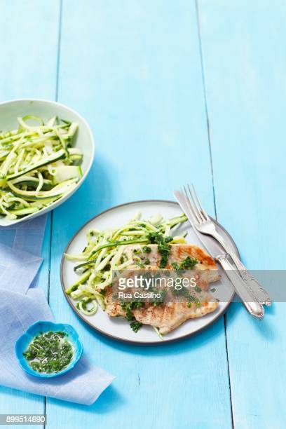 grilled turkey breast with parsley pesto and courgette strips - ピストー ストックフォトと画像