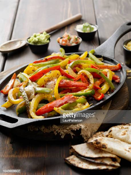 grilled vegetable fajita platter - pepper vegetable stock pictures, royalty-free photos & images