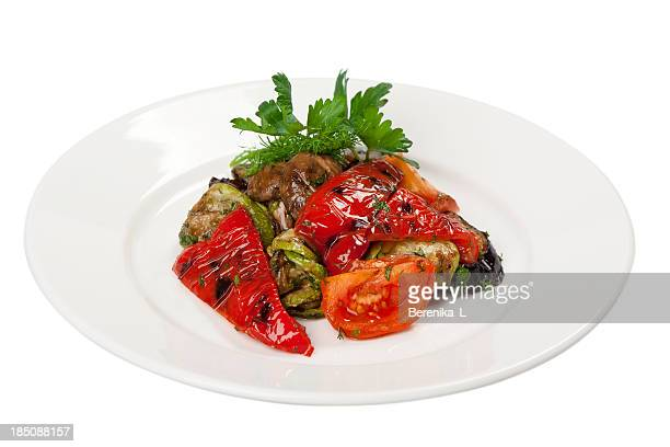 grilled vegetables - roasted pepper stock photos and pictures