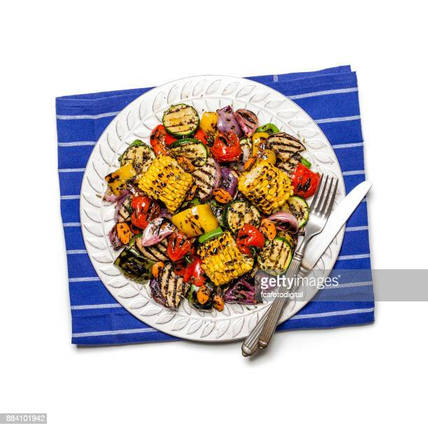 grilled vegetables plate shot from above on white background - roasted pepper stock photos and pictures