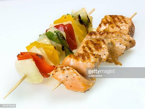 grilled wild salmon brochette
