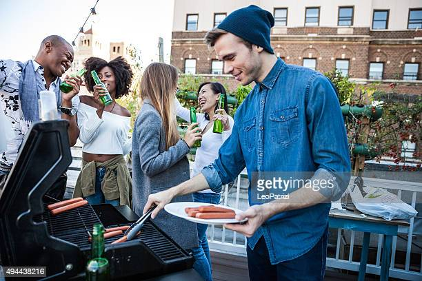 Grilling at the rooftop party in New York Manhattan