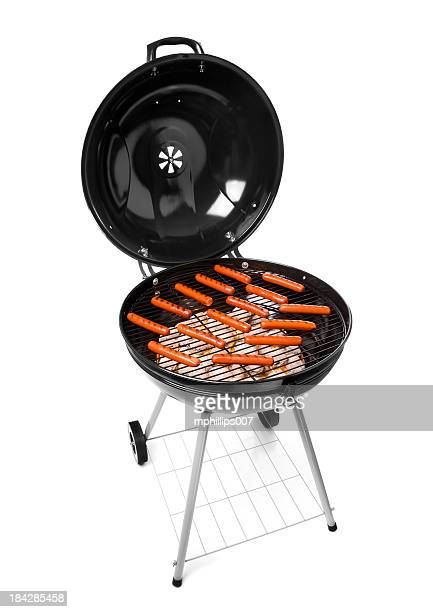 grilling hot dogs - metal grate stock photos and pictures