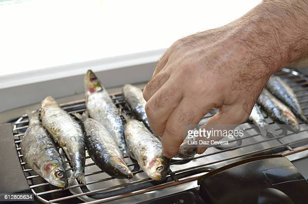 Grilling sardines at home