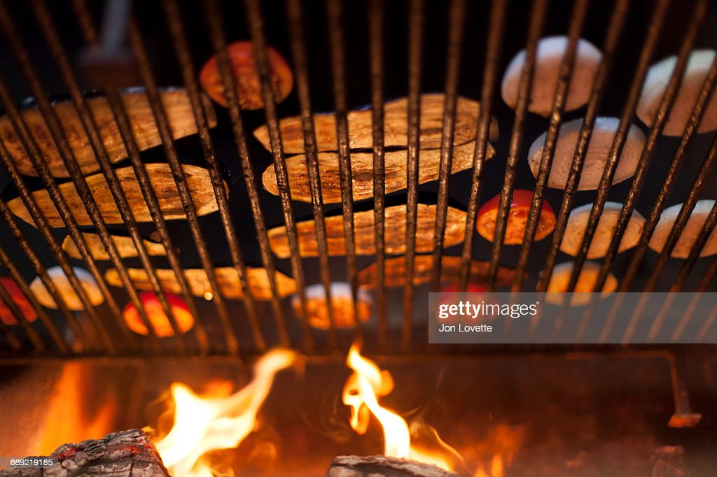 Grilling Vegetables over Fire : Stock Photo