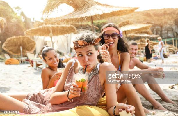 grils having fun on beach - girls sunbathing stock photos and pictures