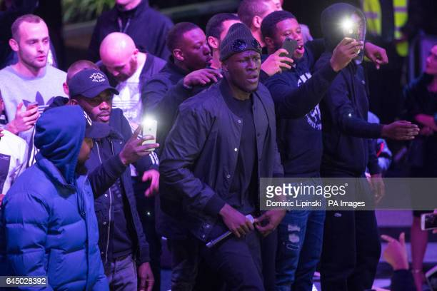 Grime MC Stormzy performs a surprise gig at Boxpark Croydon in south London to promote his debut album 'Gang Signs amp Prayer'