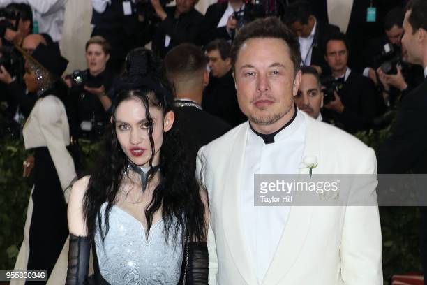 Grimes and Elon Musk attend 'Heavenly Bodies Fashion the Catholic Imagination' the 2018 Costume Institute Benefit at Metropolitan Museum of Art on...