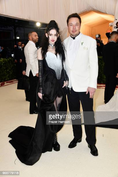 Grimes and Elon Musk attend the Heavenly Bodies Fashion The Catholic Imagination Costume Institute Gala at The Metropolitan Museum of Art on May 7...