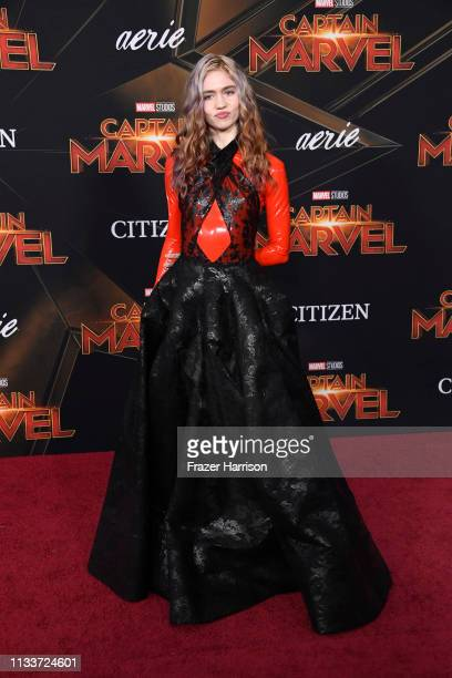 Grimes attends Marvel Studios Captain Marvel Premiere on March 04 2019 in Hollywood California