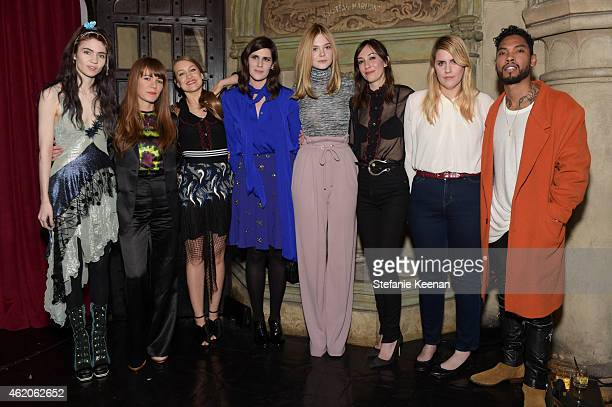 Grimes Jenny Lewis Joanna Newsom Laura Mulleavy Elle Fanning Gia Coppola Kate Mulleavy and Miguel attend Rodarte x Superga Dinner Hosted By Gia...