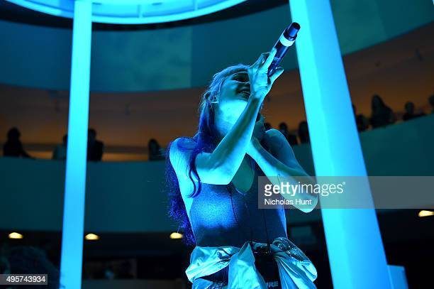 Grimes performs at the 2015 Guggenheim International Gala PreParty made possible by Dior at Solomon R Guggenheim Museum on November 4 2015 in New...