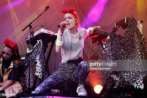 Grimes performs live on stage at St Jerome's Laneway Festival on February 7 2016 in Sydney Australia