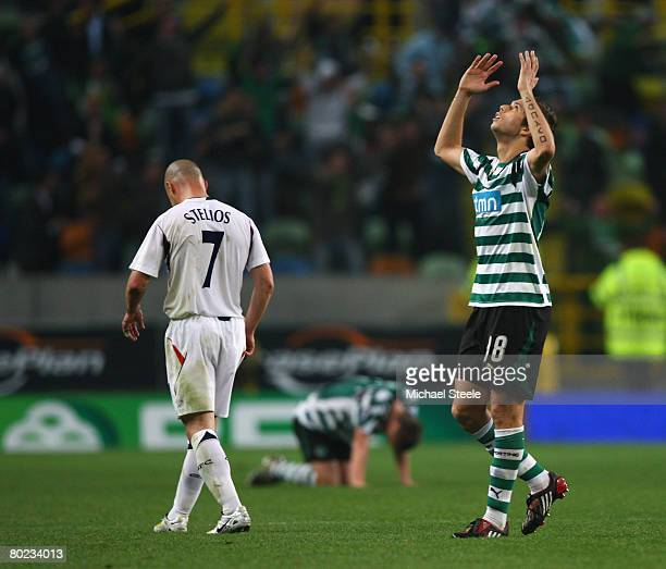 Grimi of Sporting celebrates after Sporting Lisbon scored the winning goal during the UEFA Cup Round of 16 second leg match between Sporting Lisbon...
