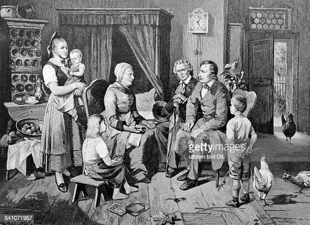 Grimm Jacob *17851863Germanist und Bibliothekar D mit seinem Bruder Wilhelm bei der Märchenerzählerin Frau Biehmann in Niederzwehren 1827 nach einem...