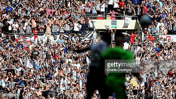 Grimsby fans enjoy the sun and the teams performance during the Vanarama Football Conference League Play Off Final between Forest Green Rovers and...