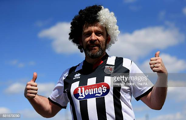 Grimsby Town fan arrives ahead of the Vanarama Football Conference League: Play Off Final match between Forest Green Rovers and Grimsby Town at...