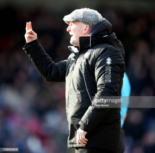 Grimsby Town manager Ian Holloway gives instructions during the Sky Bet League Two match between Grimsby Town and Northampton Town at Blundell Park...