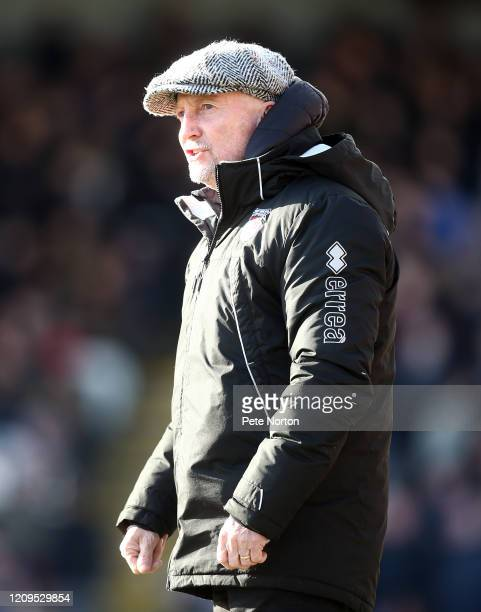 Grimsby Town manager Ian Holloway looks on during the Sky Bet League Two match between Grimsby Town and Northampton Town at Blundell Park on February...