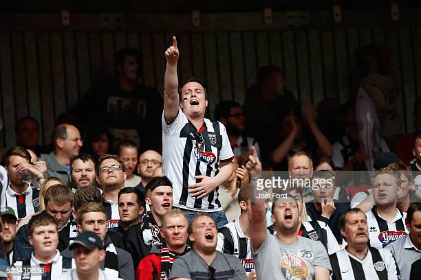 Grimsby Town supporter sings prior to the FA Trophy Final match between Grimsby Town FC v FC Halifax Town at Wembley Stadium on May 22 2016 in London...