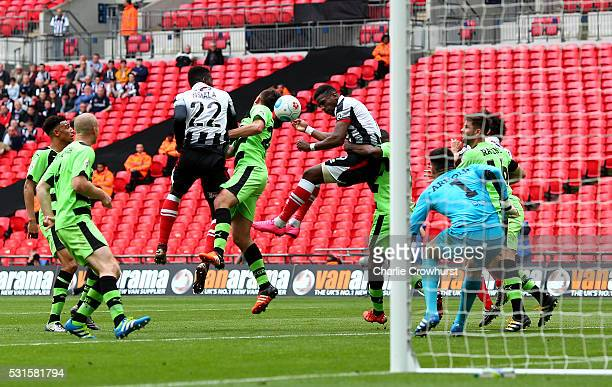 Grimsby's Omar Bogle scores the first goal of the game during the Vanarama Football Conference League Play Off Final between Forest Green Rovers and...