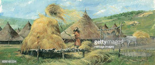 Grimspound Bronze Age Reconstruction drawing showing village life The best known of many Dartmoor prehistoric settlements Grimspound dates from the...