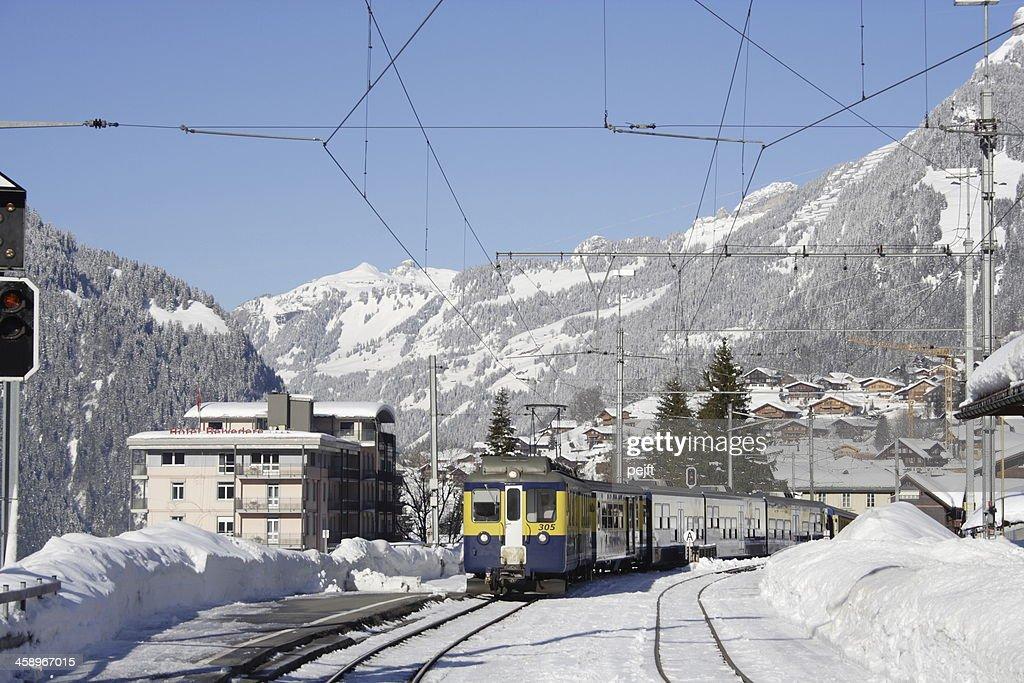 Grindelwald - ski terrain train arriving : Stock Photo