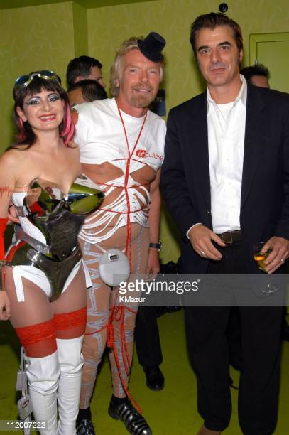 Grinder Girl Sir Richard Branson and Chris Noth during Sir Richard Branson Unveils Virgin Pulse in New York City at Power Deep Studios in New York...