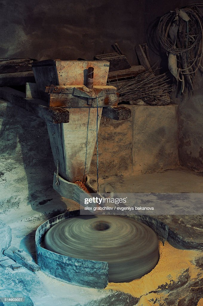 Grindstone At A Flour Mill Stock Photo