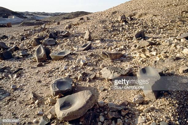 Grindstones ancient Umm Nabari mine Nubian desert Sudan Neolithic civilisation