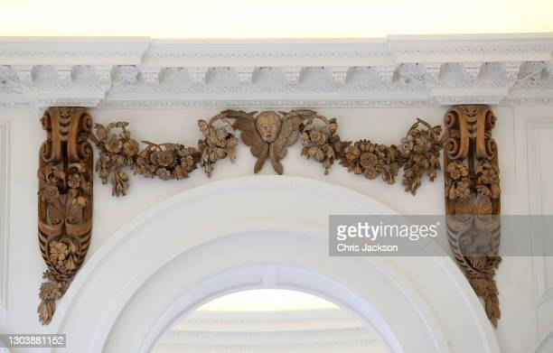 Grinling Gibbons carvings are installed in the newly-restored Orangery at Kensington Palace on February 24, 2021 in London, England. This is part of...
