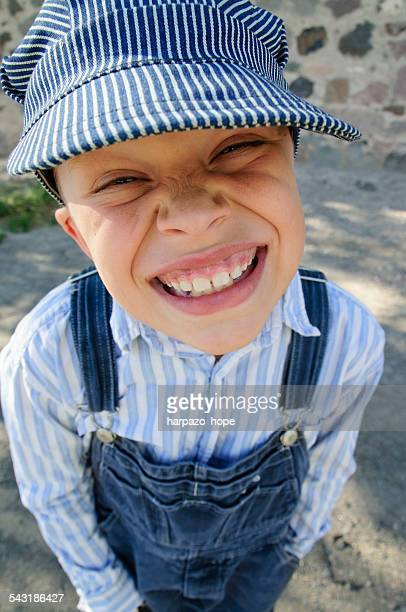 Grinning Boy with Engineer's Hat