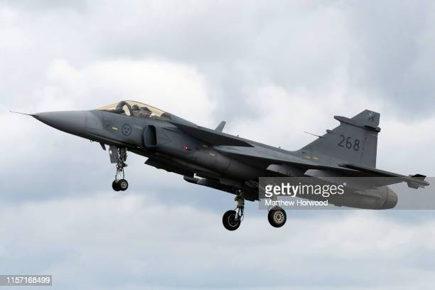 Gripen performs during the International Air Tattoo at RAF Fairford on July 21 2019 in Fairford England The Royal International Air Tattoo is the...