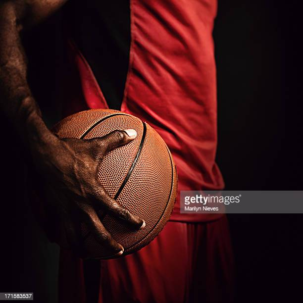 gripping the basketball