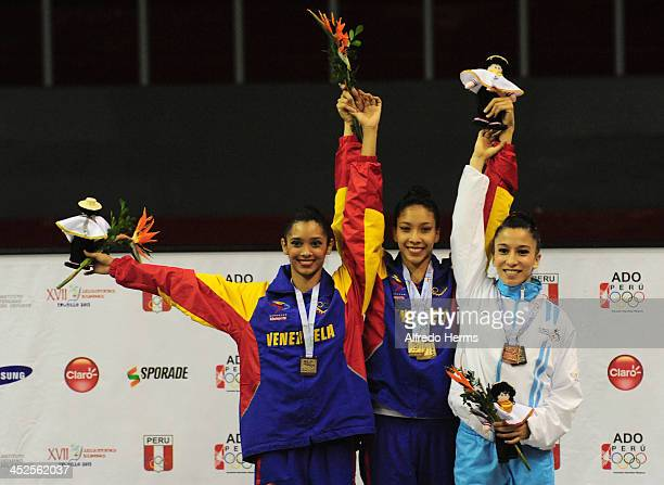 Grisbel Lopez Ortega of Venezuela Michelle Sanchez Salazar of Venezuela and Linda Sandoval Maldonado of Guatemala pose in the podium of clubs...
