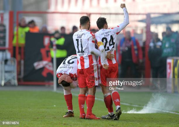 Grischa Proemel Akaki Gogia and Steven Skrzybski of 1 FC Union Berlin celebrate after scoring the 31 during the second Bundesliga game between Union...