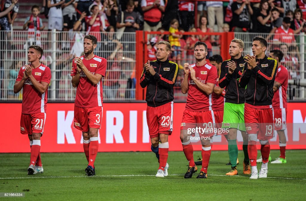 Grischa Proemel, Christoph Schoesswendter, Felix Kroos, Michael Parensen, Jakob Busk and Damir Kreilach of 1 FC Union Berlin after the game between Union Berlin and the Queens Park Rangers on july 24, 2017 in Berlin, Germany.